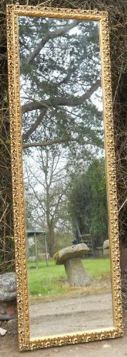 Tall Narrow Gilt Framed Wall Mirror